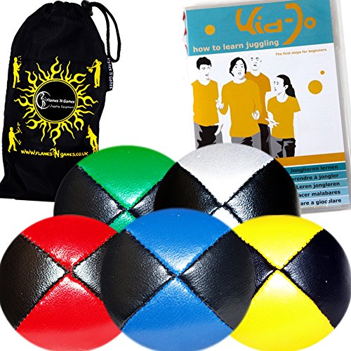 5x Pro Thud Juggling Balls - Deluxe (LEATHER) Professional Juggling Ball Set of 5 + ''Kid-Jo Learn To Juggle'' DVD + Fabric Travel Bag! (Black/Green) by Flames 'N Games Juggling Ball Set