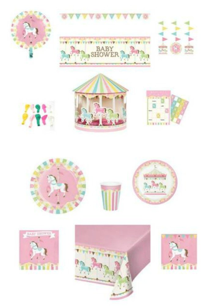 Baby Shower Carousel Themed Dinnerware/Decorations Combo Pack 12-Piece Bundle, Serves 8 (Plates/Napkins/Cups/Tablecloth/Decorations) by ShoppeShare