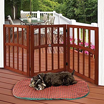"""Wooden Paw Print Accent Pet Dog Gate - Free Standing Tri-Fold 17"""" Tall 52"""" Wide"""