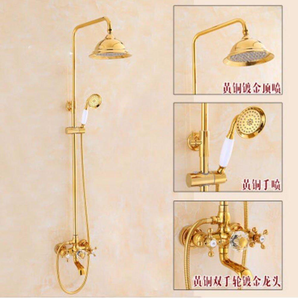 G Shower set All Copper golden Shower European Shower Set Bathroom Shower Antique Shower Hot And Cold Faucet,K