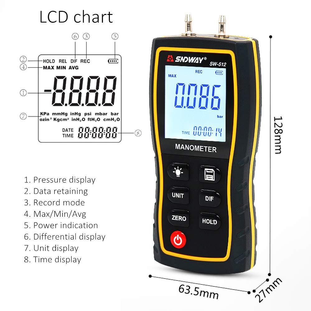 Differential Pressure Manometer 11 Units with Backlight Dual Port Air Pressure Meter Pressure Gauge HVAC Gas Tester Handheld Digital Manometer