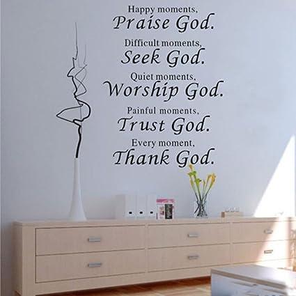Amazon.com: 1 X Wall Vinyl Decal Quote Sign Christian Praise God DIY ...