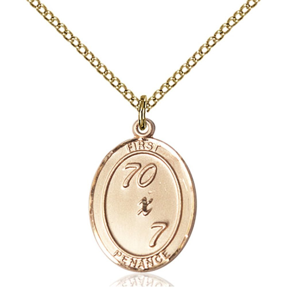 Gold Filled First Penance Pendant 3/4 x 1/2 inches with 18 inch Gold Filled Curb Chain by Bonyak Jewelry Saint Medal Collection