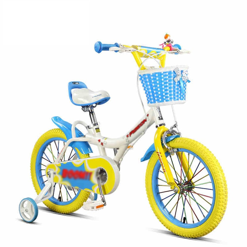 PJ 自転車 子供の自転車3-5-6-8歳の男性と女性の子どもたちの補助車輪を持つ16インチの自転車キッズバイク 子供と幼児に適しています ( 色 : 青 ) B07CRF3K9L青