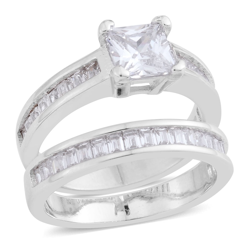 Women Cubic Zirconia Wedding Promise Ring with Guard Set Rhodium Plated Silvertone 2.3 cttw