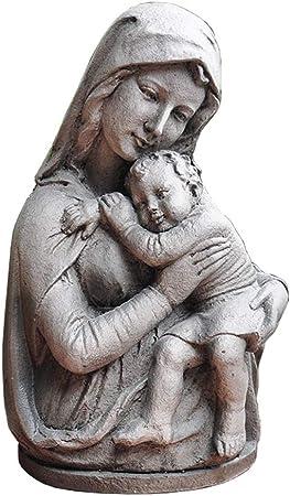 SDBRKYH Virgen María Escultura, Escultura decoración del jardín católico Estatua jardín de Maria Madonna de Media Longitud y Escultura: Amazon.es: Hogar
