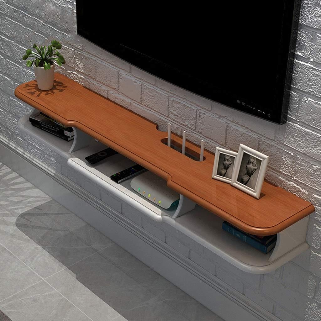 フローティングシェルフ 現代の壁掛けフローティングテレビ棚テレビコンソールホームメディアエンターテイメント収納棚テレビスタンドテレビキャビネットスカイボックスセットトップボックスゲームコンソール (色 : White+brown, サイズ さいず : 140×24×14.6cm) B07RD6XH8L White+brown 140×24×14.6cm