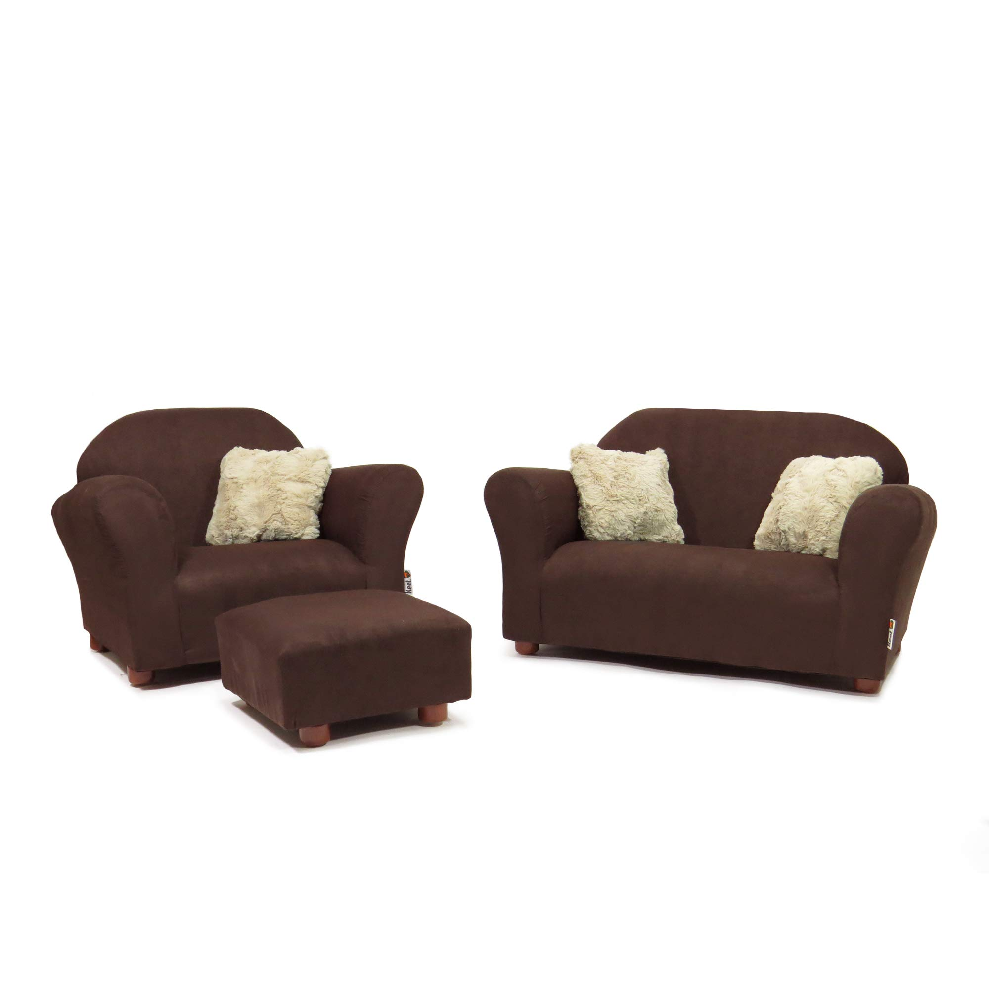 Keet Plush Childrens Set, Sofa, Chair and Ottoman, Brown by Keet
