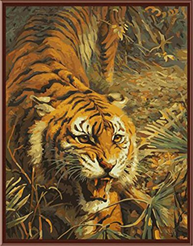 CaptainCrafts New Paint by Number Kits - Tiger King 16x20 inch Frameless - Diy Painting by Numbers for Adults Beginner Kids