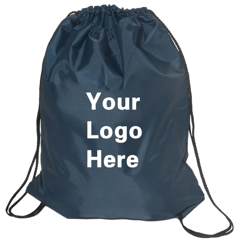 Promotional Drawstring Bag String-A-Sling Backpack- 15'' w x 18'' h flat bag- 100 Quantity - $1.83 Each -Promotional Products Bulk Custom Branded with YOUR LOGO for Free C2BPromo #C2BB0054H-Navy