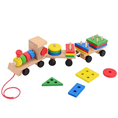Wooden Stacking Toys Train Shape Sorter and Stacking Blocks, Toddlers Puzzle Toys, Pull Toys for Toddlers & Kids, Montessori Preschool Educational Toys Great Gift for Girls and Boys for 2 3 4 Year: Toys & Games