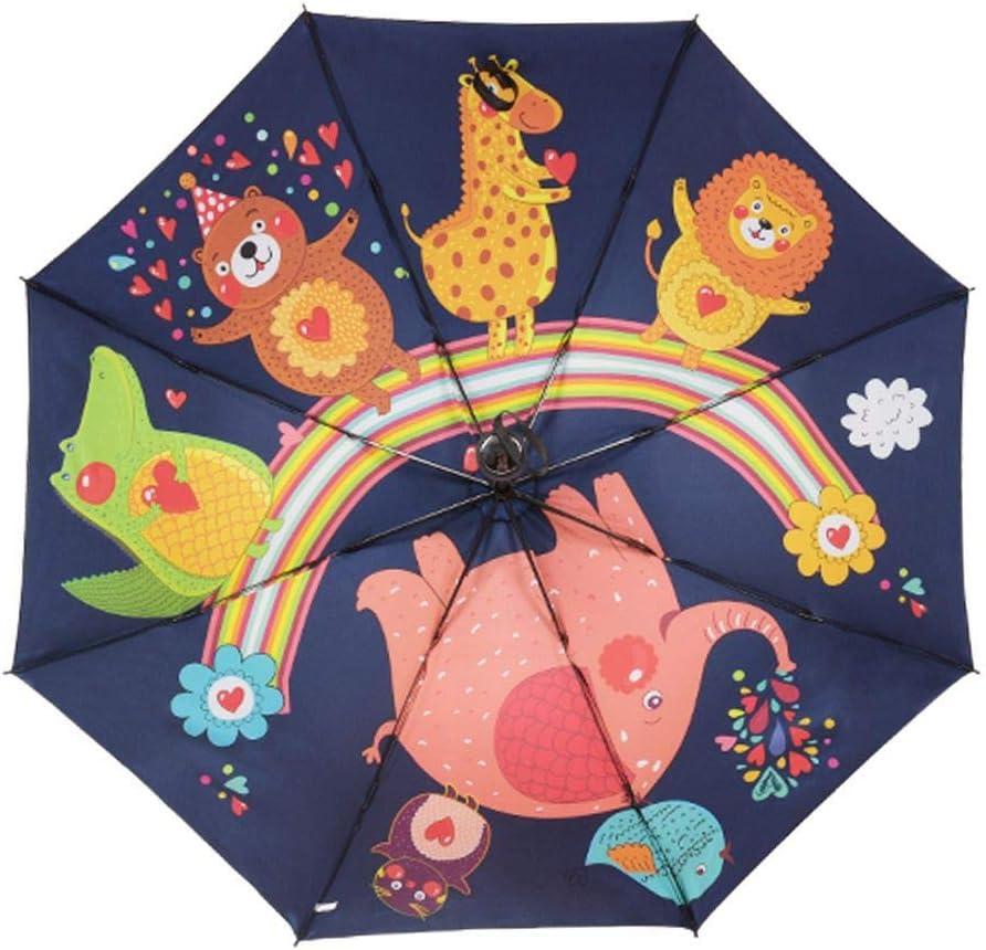 JUNDY Paraguas a Prueba de Viento y Estable, Paragua de Bolsillo Compacta y Ligera Sombrilla de Goma Negra Animal Paraguas de Tres Pliegues colour3 100cm: Amazon.es: Hogar