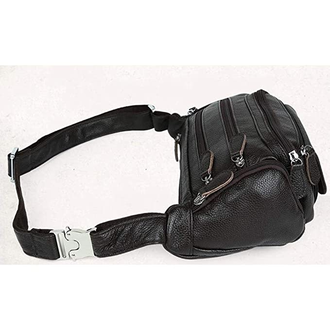 RABILTY Body Bag Waist Bag Waist Pouch Mens Multi Function Genuine Leather Color : Black