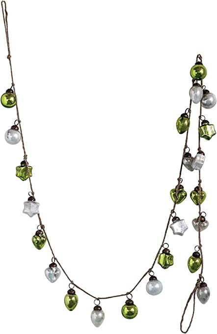 Creative Co-op Green & Silver Embossed Mercury Garland Glass Ornaments, Green