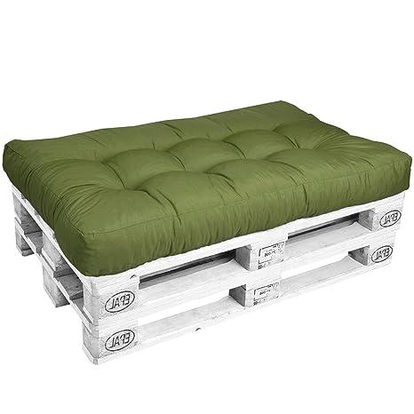 Beautissu Cojines para palés Eco Style - Cojín de Asiento 120x80x15 cm - Color: Verde - Cojín: Asiento