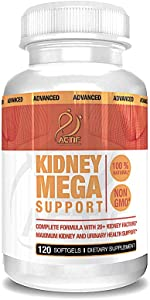 Actif Kidney Mega Support with 10+ Advanced Factors, Non-GMO, Fast Acting, Made in USA, 120 Count