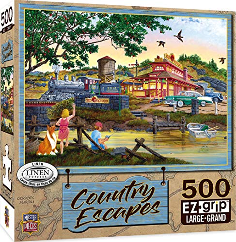 MasterPieces EZGrip Country Escapes Linen Jigsaw Puzzle, Apple Express, Featuring Art by William Kreutz, 500 Pieces