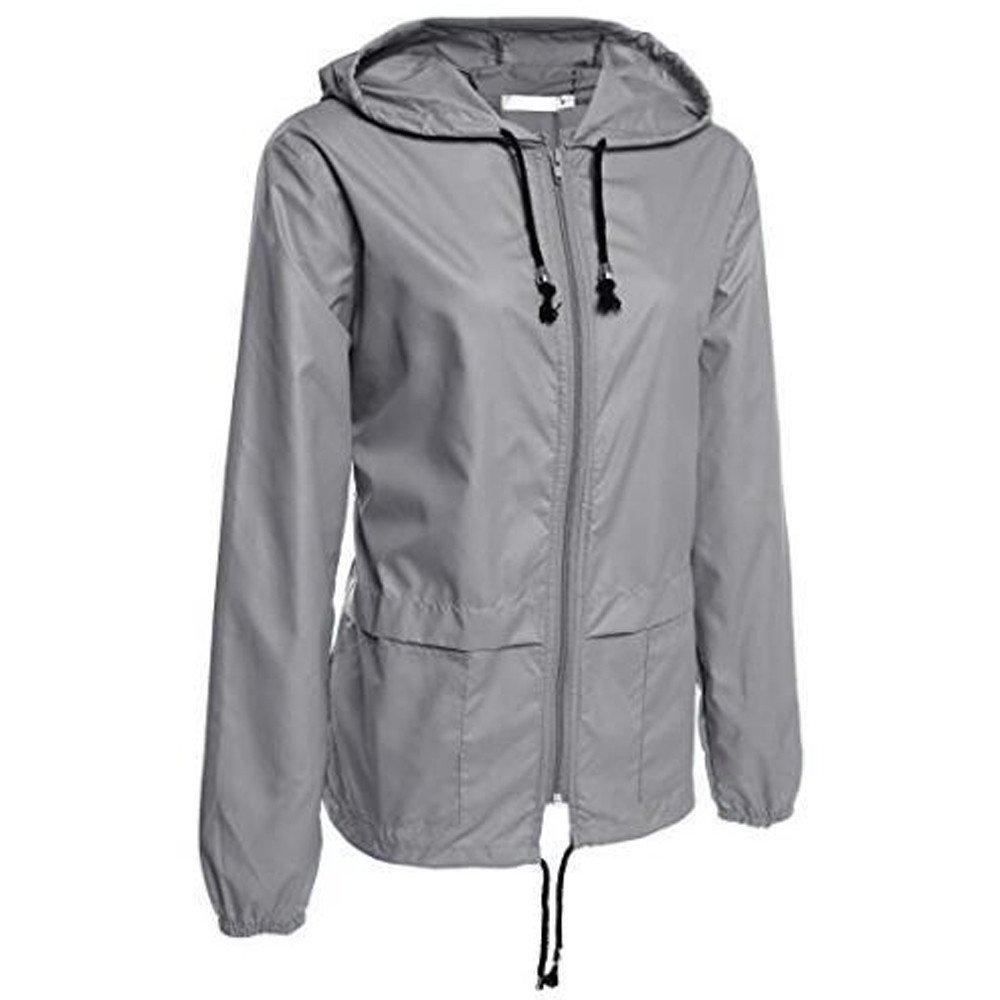 Women's Lightweight Rain Jacket TIFENNY Outdoor Packable Waterproof Zip Solid Color Hooded Raincoat