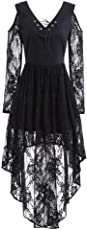 Women Halloween Lace Dress,Connia Fall Winter Gown Bat Vintage Printed Cocktail Costume