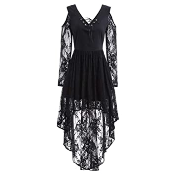 Youngh Womens Dress Lace Solid Loose V-Neck Vintage Knee-Length Casual