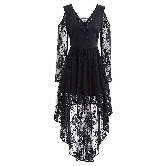 Women Halloween Lace Dressconnia Fall Winter Gown Bat Vintage Printed Cocktail Costume