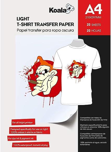 Light T Shirt x 20 Sheets T Shirt Transfers A4 Inkjet Iron On Transfers Paper