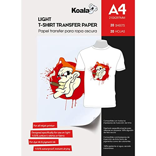 KOALA Inkjet Iron On T Shirt Transfer Paper for Light Fabrics x 20 Sheets, A4
