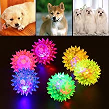 Glowing Hedgehog Ball Catchy Dog Puppy Cat Pet LED Squeaky Rubber Chewing Bell Bouncing Balls Hedgehog Fun Toy