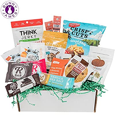PALEO Diet Snacks Gift Basket: Mix of Whole Foods Protein Bars, Grain Free Granola, Cookies, Beef Jerky Meat Sticks, Fruit Snacks, Paleo Sampler Box Care Package