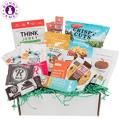 PALEO Diet Snacks Gift Basket: Mix of Whole Foods Protein Bars, Grain Free Granola, Cookies, Beef Jerky Meat Sticks, Fruit Snacks, Paleo Sampler Box Care Package by BUNNY · JAMES ·