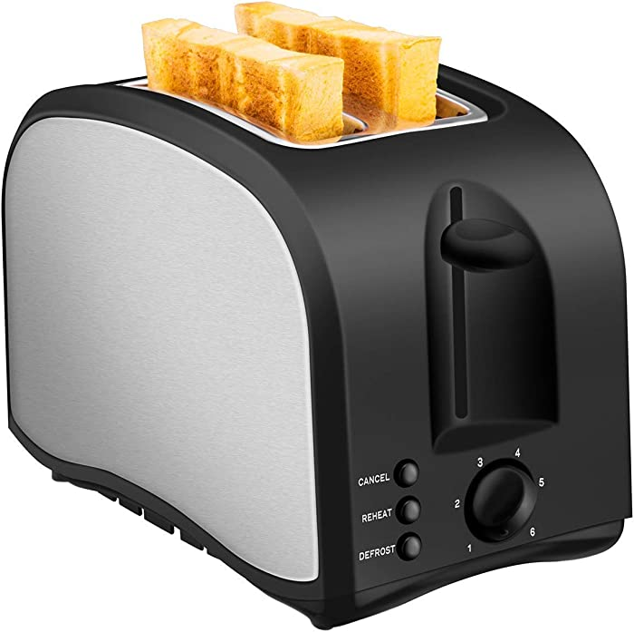 2 Slice Toaster CUSIBOX Wide Slot Toaster 2 Slice Best Rated Prime with Pop up Reheat Defrost Cancel Function, Black