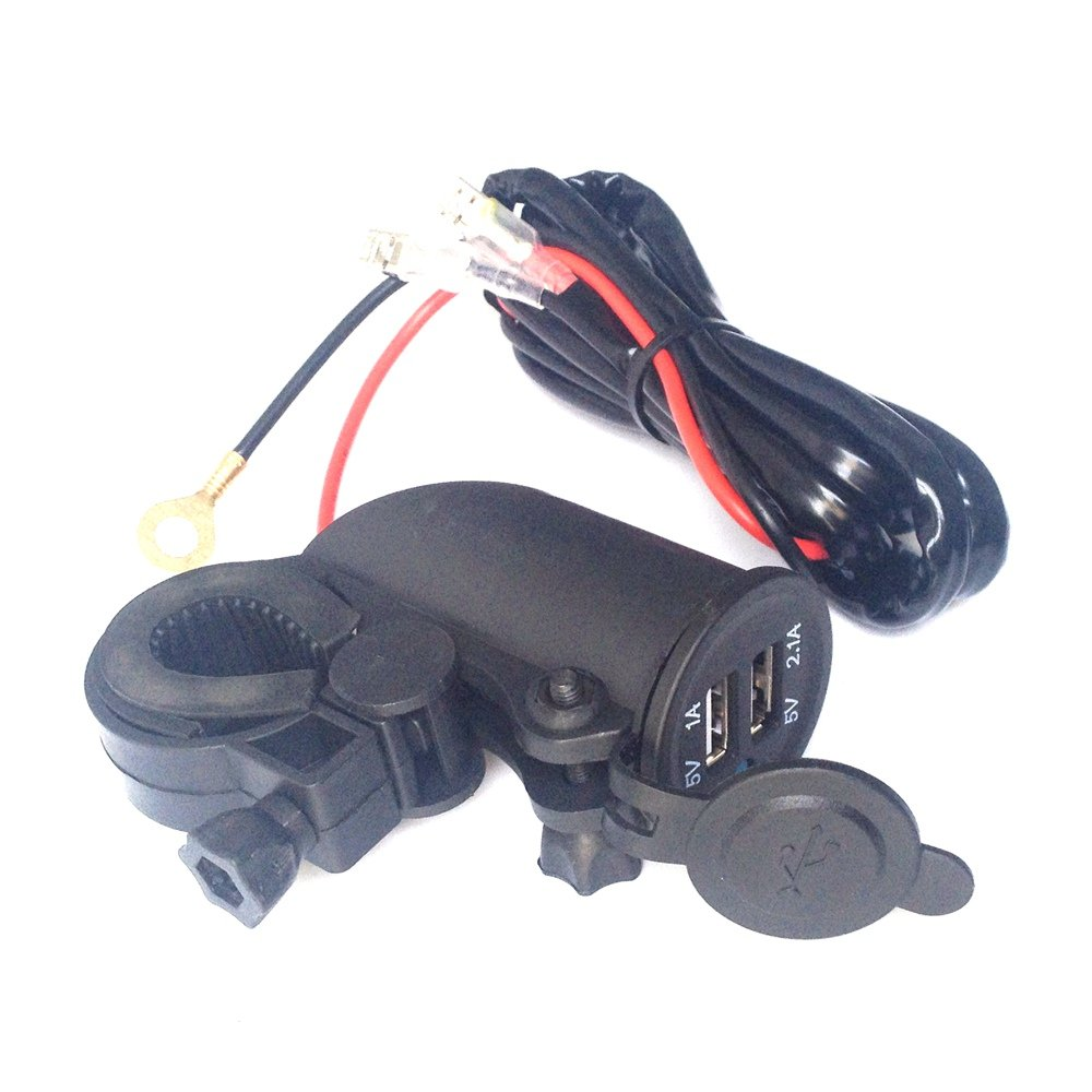 Motorcycle Waterproof Dual USB Phone Charger Motorbike Handlebar GPS 12V Power Supply 2.1A