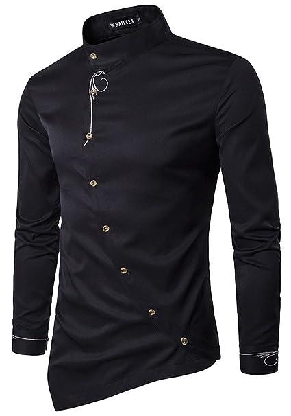 3909a1235 HOP Men's Casual Irregular Longline Hem Slim Fit Button Down Dress Shirt  HOPM002-Black-