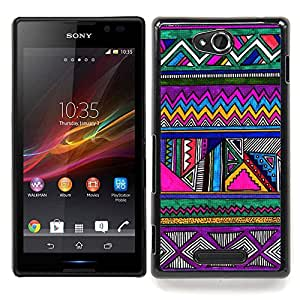 Pattern Pen Drawing Purple Caja protectora de pl??stico duro Dise?¡Àado King Case For Sony Xperia C S39h C2305