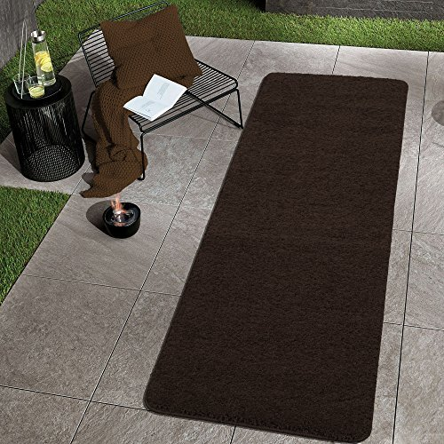 Sweethome Stores Luxury Collection Soft Solid Brown Shaggy Non-Slip (2' X 6') Shag Runner Rug