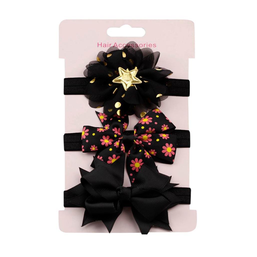 Lavany Baby Headbands,3PCS Elastic Floral Bowknot Headwear Set For Kids Girl Party (J)