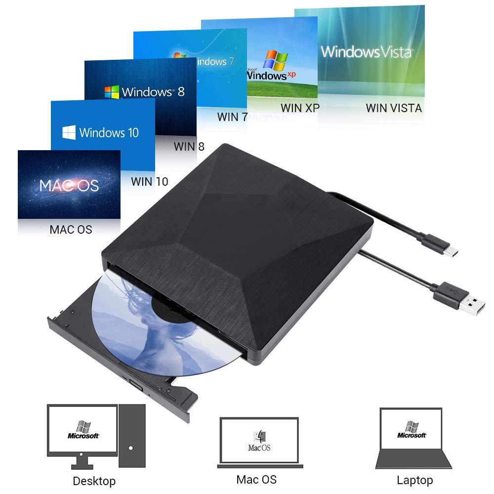 External CD DVD Drive, USB 3.0 Type-C Dual Port DVD CD R/RM Burner Writer Copier Player Floppy Optical DVD Drive Plug and Play High Speed Data Transfer for Laptop/Macbook/Desktop/MacOS/Win10/8/7