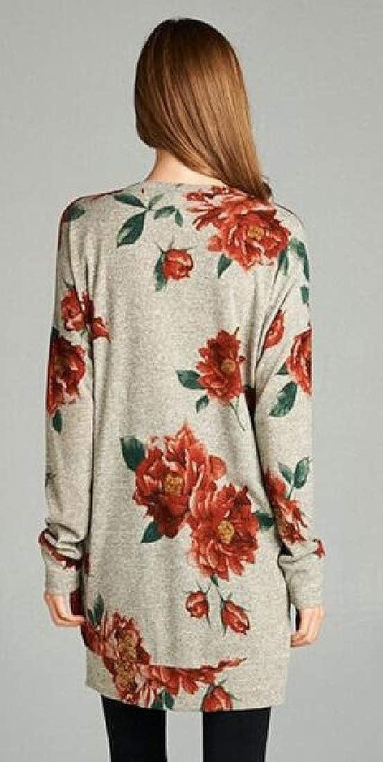 WSPLYSPJY Womens Casual Floral Print V-Neck Long Sleeve Blouse Shirts Tops T-Shirt