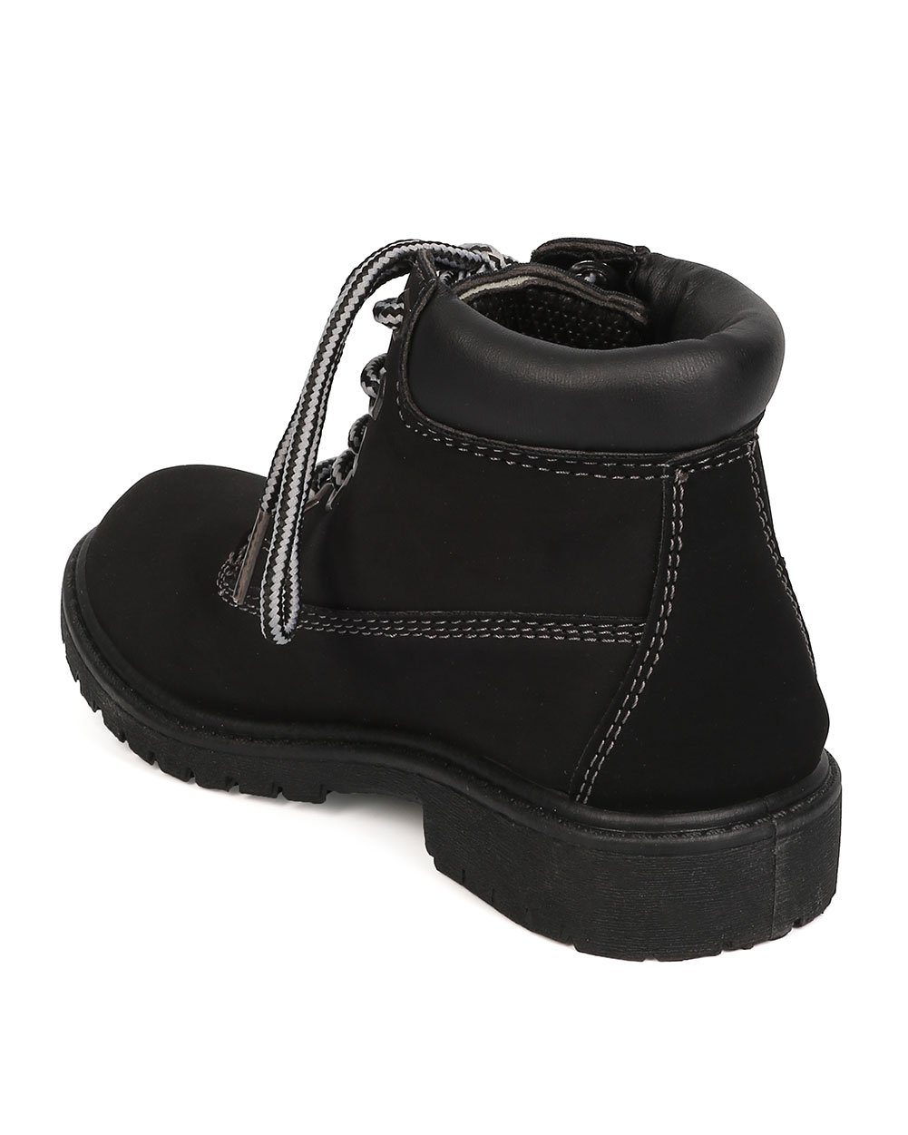 Nubuck Round Toe Lace Up Lug Sole All Weather Ankle Boot (Toddler/Little Girl/Big Girl) FA28 - Black (Size: Toddler 9) by Refresh (Image #3)