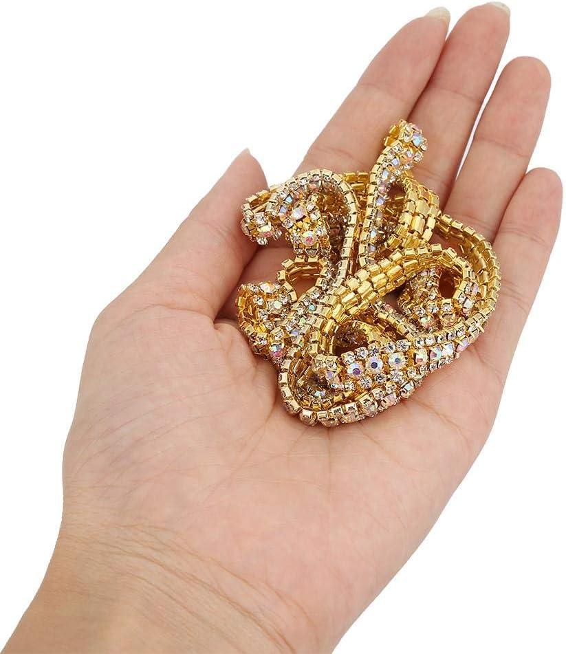3 Rows Rhinestone Chain Trim Mesh Diamond Ribbon for Women Gown Wedding Bridal Belts Gold