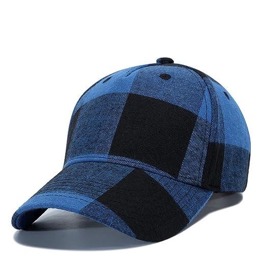 7db6bffc363 MCSAYS Hip Hop Fashion Baseball Hat Cap Snapback Blue and Black Plaid Cotton  at Amazon Men s Clothing store