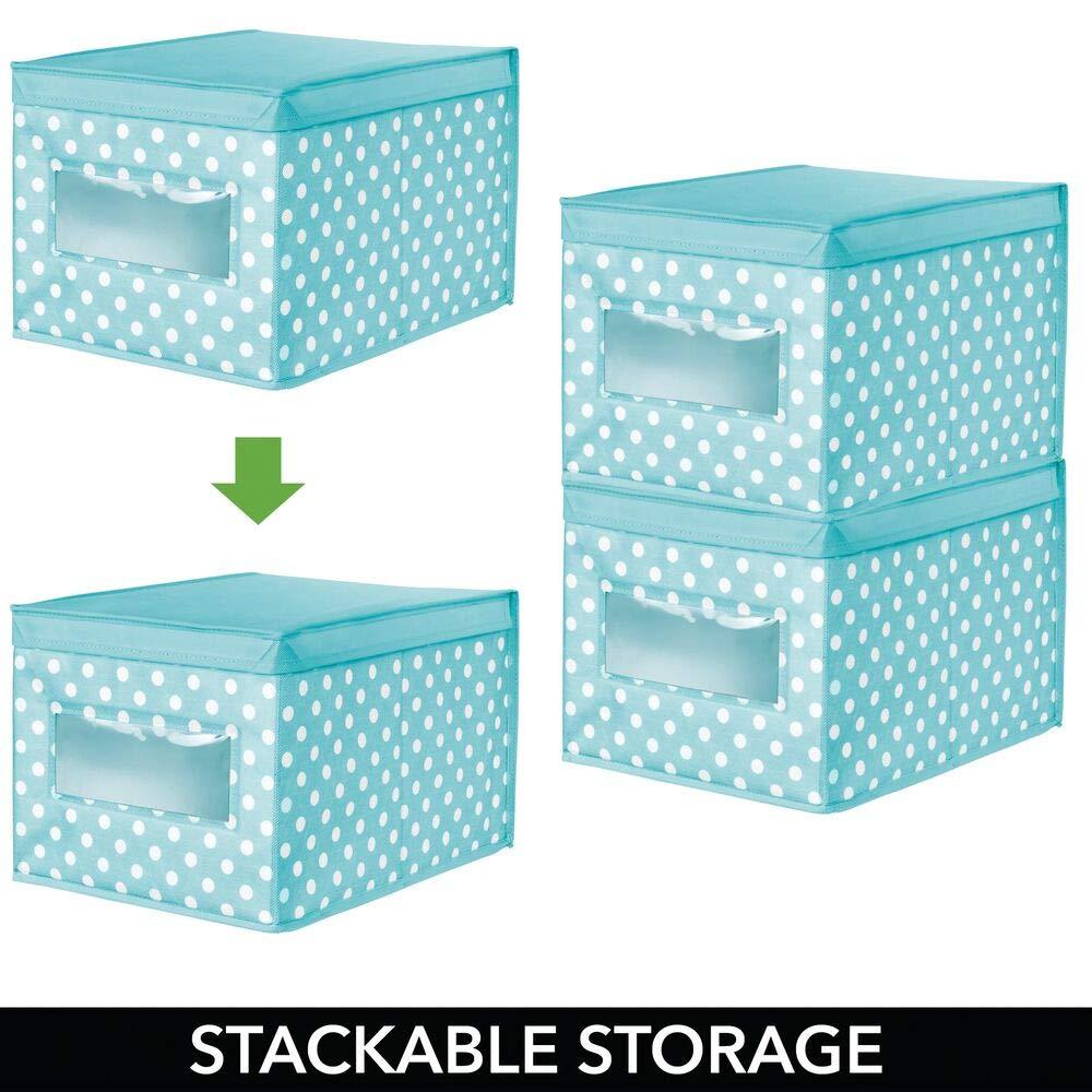 Caja de almacenaje apilable con tapa y ventanilla para ordenar armarios y guardar ropa mDesign Caja organizadora grande de tela azul turquesa//blanco Organizador de armarios de lunares