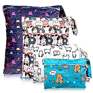 Washable and Reusable Wet Bag, Diaper Bag, Water Resistant Swimming Bag, Travel Toiletries Pouch, Yoga Gym Bag,Cute Cat 4 Pcse