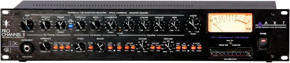 ART Pro Channel II Microphone Preamp/Compressor/EQ Professional Tube Based Selectable VU Metering by ART
