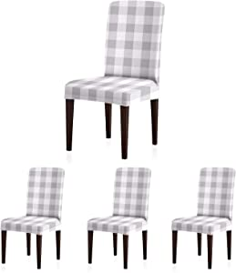 ColorBird Buffalo Check Spandex Chair Slipcovers Removable Universal Stretch Elastic Gingham Chair Protector Covers for Dining Room, Restaurant, Hotel, Banquet, Ceremony, Set of 4, Gray & White Plaid