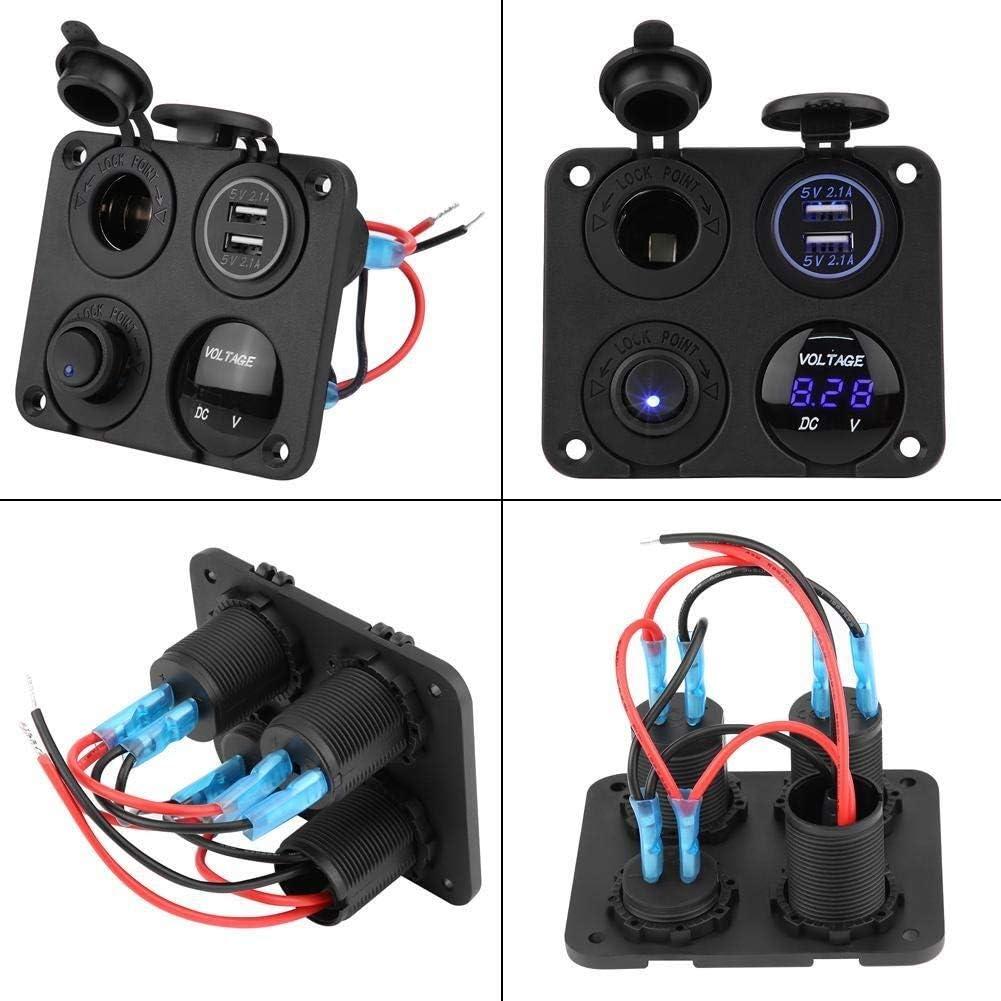 KSTE 4 Gang ON//OFF interrupteur /à bascule Panneau double chargeur USB allume-cigare Voltm/ètre LED bleu