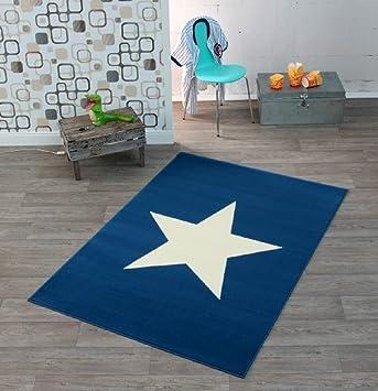 Stern - Teppich - Wohnzimmer - Läufer - blau