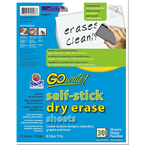 Pacon PACASB8511 GoWrite! Dry Erase Sheets, 8.5