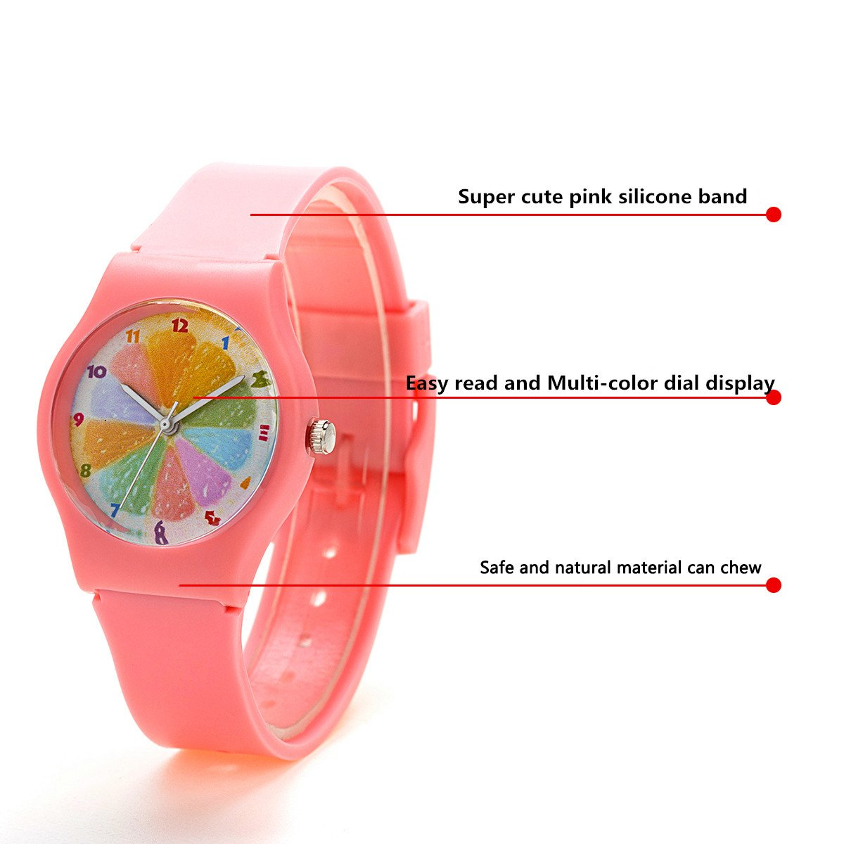 Zeiger New Cool Kids Young Girls Analog Display Easy Read Time Teacher Watch with Rainbow Dial Silicone Band (Pink)