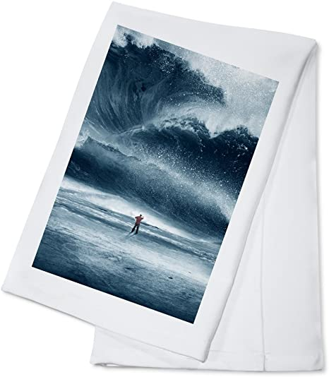 Man Standing In Front Of Tidal Wave 100 Cotton Kitchen Towel Kitchen Dining
